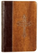 ESV Large Print Compact Bible Trutone Vintage Cross Design Burgundy/Tan Imitation Leather
