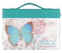 Bible Cover Medium: Grace Eph. 2:8 Butterfly Teal Luxleather