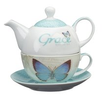Ceramic Tea Pot & Colored Saucer: Grace Butterfly White/Green/Blue
