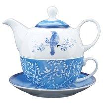 Ceramic Teapot & Colored Saucer: Bluebird White/Blue