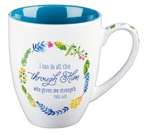 Stoneware Mug: I Can Do All Things... , Blue/White (Colored Wreath)