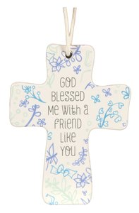 Cross Ceramic With Cord: God Blessed Me: Natural Blessings (Proverbs 17:17)