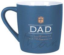 Ceramic Mug: Thank You Dad Dark Blue/White (1 Cor 1:4 & Phil 1:7)