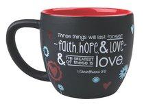 Joy Blossoms Ceramic Mug: Love Black/Red/Blue/White (1 Cor 13:13)