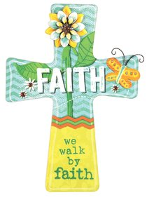 Mdf Wall Cross With Metal Flower & Gem Accents: Faith