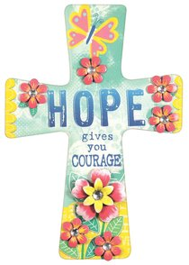 Mdf Wall Cross With Metal Flower & Gem Accents: Hope