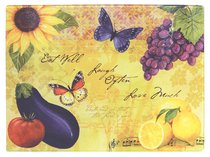 Bella Vita Collection: Glass Cutting Board, Sunflower, Grapes, Lemons