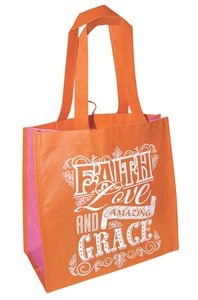 Eco Totes: Faith Love and Amazing Grace, Orange With Pink Sides