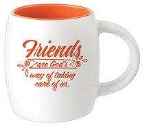 Ceramic Barrel Mug: Friends Are Gods Way of Taking Care of Us (Orange)