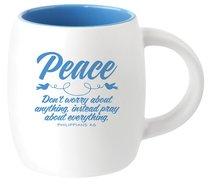 Ceramic Barrel Mug: Peace (Light Blue)