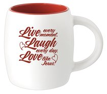 Ceramic Barrel Mug: Live Laugh Love (Red)