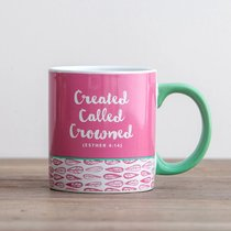 Ceramic Mug: Created, Called, Crowned (Esther 4:14) (Pink Floral)