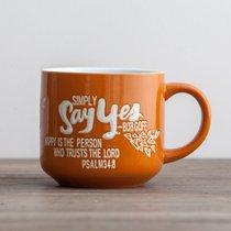 Jumbo Ceramic Mug: Love Does (Psalm 34:8 ICB) (Gold/white)