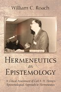 Hermeneutics as Epistemology eBook