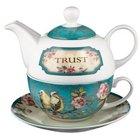 Ceramic Teapot & Colored Saucer: Trust Turquoise Birds