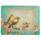 Large Glass Cutting Board: Trust Turquoise Birds