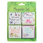 Magnetic Set of 4 Magnets: God Cares For You...