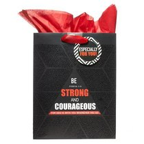 Gift Bag Medium: Be Strong & Courageous (Incl Tissue Paper) (Josh 1:9)