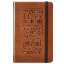 Notepad: Steadfast Love With Elastic Band Closure Tan Luxleather