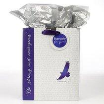 Gift Bag Medium: Eagle, Be Strong & Courageous White/Blue (Deut 31:6)