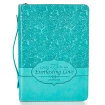 Bible Cover Medium Everlasting Love Jer. 31:3 Turquoise Luxleather