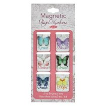 Magnetic Bookmarks Set of 6: It is By Grace You Have Been Saved (Coloured Butterflies)