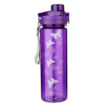 Plastic 750ml Water Bottle: Made New Butterflies (Purple)