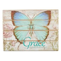 Wall Plaque: Grace Butterfly Blue/Green (Mdf)