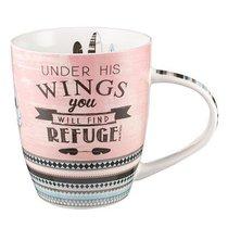 Ceramic Mug: Under His Wings..... (Pink/grey)