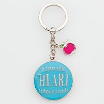 Metal Keyring in Tin: Blue, Apple, Let All That You Do Be Done in Love