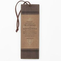 Bookmark Luxleather Tassel: Be Strong and Courageous Beige/Burgundy