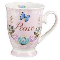 Ceramic Mug & Coaster in Tin: Peace (Pale Pink/flowers/butterflies)