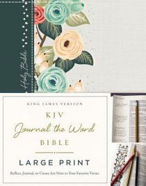 KJV Journal the Word Bible Large Print Hardcover Green Floral Cloth Red Letter Edition