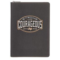 Journal: Strong & Courageous With Zipper, Luxleather