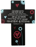 Joy Blossoms Wall Cross: Love Black/Red/Blue/White (1 Cor 13:4, 7-8 & 13) Homeware