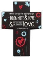 Joy Blossoms Small Cross: Love Black/Red/Blue/White (1 Cor 13:13) Homeware
