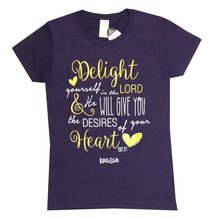 Womens T-Shirt: Delight in the Lord X-Large Dark Purple/Gold/White (Missy Cut)