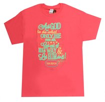 Womens T-Shirt: Ask God X-Large Pink/Blue (Matthew 7:7)