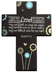 Joy Blossoms Small Cross: Hope Black/Blue/White (Isaiah 40:31)