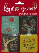 Magnetic Set of 4 Magnets: Love Grows Novelty