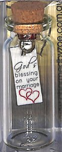 Tile Hanging in Small Bottle, Gods Blessing on Your Marriage