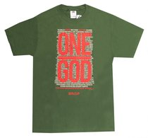 Mens T-Shirt: One God Small Olive/Red/White (Deut 4:39)
