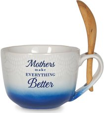 Ceramic Soup Bowl: Mothers (Blue/white/wooden Spoon)