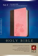 NLT Slimline Center Column Reference Bible Dark Brown/Pink Flowers (Red Letter Edition) Imitation Leather