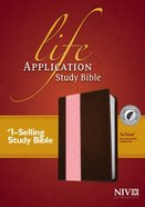 NIV Life Application Study Indexed Bible Dark Brown/Pink (Red Letter Edition) Imitation Leather