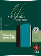 NLT Life Application Study Indexed, Personal Size Dark Brown/Teal Indexed (Black Letter Edition)