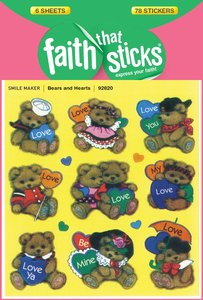 Bears and Hearts (6 Sheets, 78 Stickers) (Stickers Faith That Sticks Series)