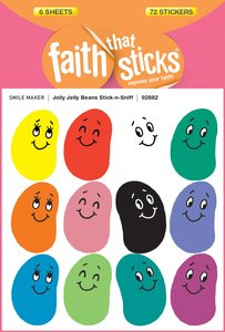 Jolly Jelly Beans Stick-N-Sniff (6 Sheets, 72 Stickers) (Stickers Faith That Sticks Series)
