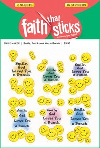 Smile, God Loves You a Bunch (6 Sheets, 36 Stickers) (Stickers Faith That Sticks Series)
