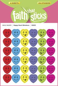 Happy Heart Miniature (6 Sheets, 216 Stickers) (Stickers Faith That Sticks Series)